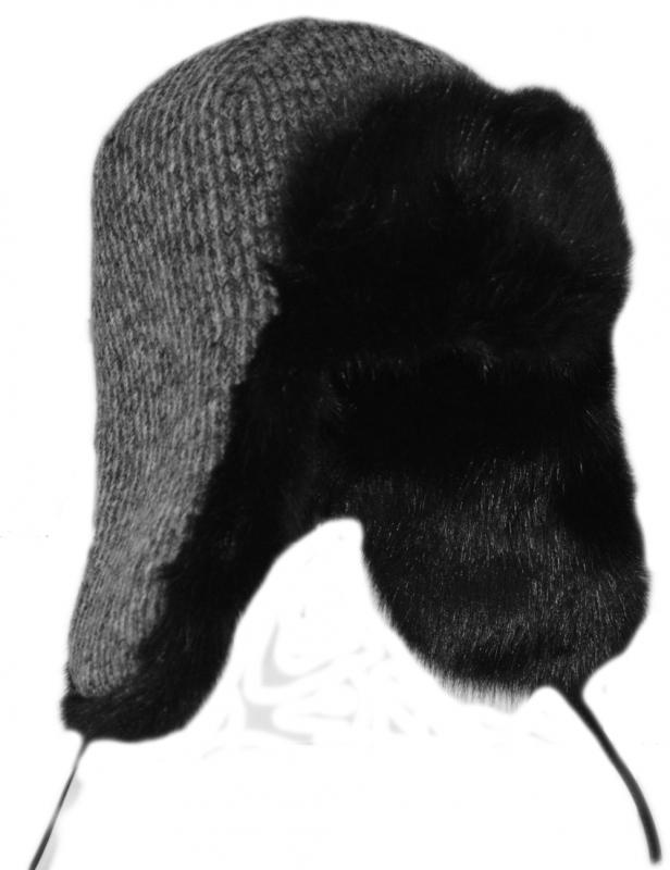 Зимние Ушанки Арт. Уш LTc(ч) цвет: серый , мех цве: чёрный фото