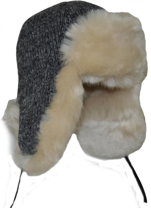 Зимние Ушанки Арт. УШ LTс(Бел) цвет:серый мех:светлый фото