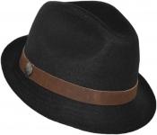 Шляпа (Трилби) Шл4 Black(K) цвет:чёрный лента коричневая фото