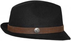 Шляпа (Трилби) Арт. Шл4 Black(K) цвет:чёрный лента коричневая фото