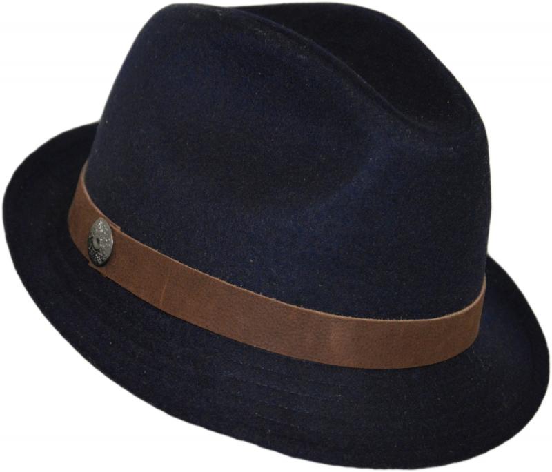 Шляпа (Трилби) Арт. Шл4 Dnavi(K) цвет: тёмно-синий лента коричневая фото