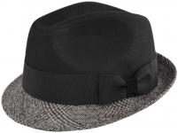 Шляпа (Трилби) Арт. Шл4 Sabadell цвет: чёрный , клетка серая фото